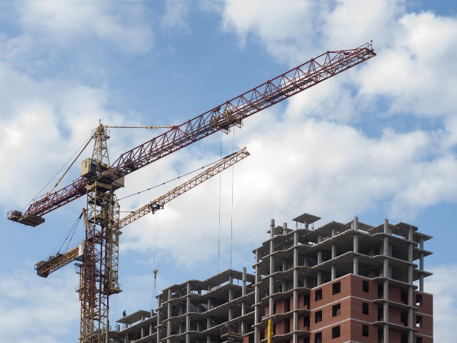The crane builds houses